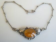 Fine vintage baltic amber sterling silver choker necklace hand made chain
