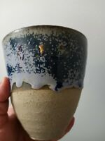 Studio Pottery Stoneware Cup Vase Dripp Glazed Blue
