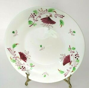 """Antique Early Staffordshire Soup Bowl Sprig of Red Flowers Stick Spatter 7 5/8"""""""