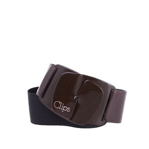 CLIPS Elasticated Waist Belt Size 40 / XS Contrast Leather Hook Buckle Closure