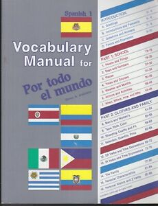 VOCABULARY MANUAL POR TODO EL MUNDO SPANISH 1  by Steven A Guemann A BEKA BOOK