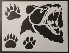 "Grizzly Brown Bear Face Paw Print Paws Foot 11"" x 8.5"" Stencil FREE SHIPPING"