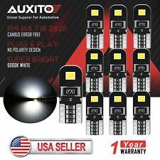 10x AUXITO Canbus T10 194 168 2835 LED Door Interior Map Light Bulb Error Free