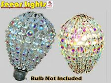 Chandelier Glass Light Candle Bulb Cover AB Beads Droplet Crystals Lamp Shade BN