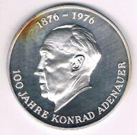 Medaille  100 Jahre Adenauer     ca.50mm   -- 1000er Silber  -- ca. 50g