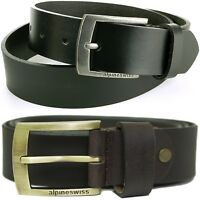 "Alpine Swiss Men's Leather Belt Slim 1 1/4"" Casual Jean Dakota Signature Buckle"