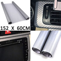 152X60cm 3D Carbon Fiber Vinyl Wrap Roll Film Sticker Bike Car Home Wall Silver