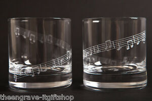 Set of 2 MUSIC* theme Whiskey glasses tumblers - Gift boxed