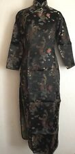 Vintage Chinese Party Dress Black / Gold Size XL Uk 12 Brand New