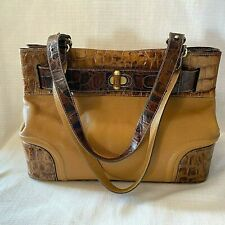 Brahmin Elaine Lafayette Shoulder Bag Satchel Brown Croc Bucket Belted Tote 25th