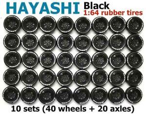 1:64 rubber tires - Hayashi black rims fit Hot Wheels Toyota diecast - 10 sets