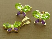 Genuine 9ct Gold Natural Peridot, Amethyst Butterfly Stud Earrings & Pendant set