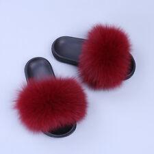 2017 New Flat Women Real Fox Raccoon Fur Sliders Slippers Indoor Outdoor Shoes