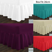 Plain Dyed Fitted Frilled Valance Sheets Poly Cotton Bed Sheets