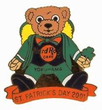 Hard Rock Cafe YOKOHAMA 2001 St. Patrick's Day PIN Teddy Bear with Clover #10577