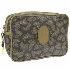 Yves Saint Laurent Logos Clutch Hand Bag Beige Brown PVC Leather AK31740g