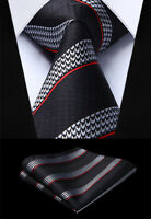"3.4"" Classic Woven Men White Black Tie Striped Necktie Handkerchief Set#TG702L8S"