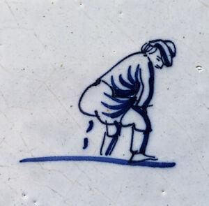 VERY RARE DUTCH DELFT TILE, Man Defecating (taking a poop), circa 1700