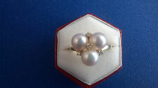 18K Yellow Gold Mikimoto Akoya Pearl & Diamond Ring Sz 5 3/4