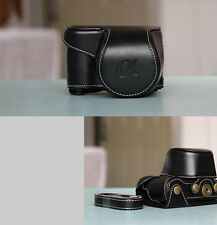 Black Leather Camera case bag for Sony Alpha A6000 A6300 With 16-50mm Lens ONLY