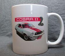 White & Red Ford Mustang II Cobra II Coffee Cup, Mug -New- 70's Classic - Sharp!