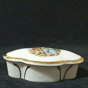 Vintage Victorian White Trinket Box Courting Couple on Lid Gold Trim Preowned