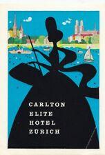 Carlton Elite Hotel ZÜRICH Suisse Switzerland Vintage Luggage Label