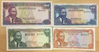 Kenya Banknote P75-78 Complete Set 5 10-20-100 Shillings 1978, EF or Better