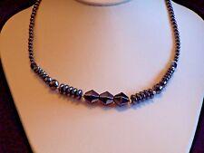 Beautifully Polished 17-inch Hematite Symmetrical Pattern Choker/Necklace