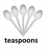 100 White Plastic Disposable Teaspoons for Parties and General use.