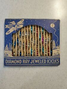 "18 vtg-CHRISTMAS TIN ""DIAMOND RAY JEWELED ICICLES"" ORIGINAL BOX Santa, Plane"