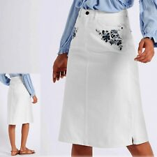 M&S Embroidered MIDI Length A-LINE DENIM SKIRT ~ Size 10 ~ WHITE