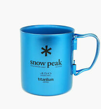 NEW SNOW PEAK BLUE TITANIUM DOUBLE SKIN MUG 450ml weight 118g MG-053BL