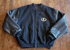 Vintage golden bear varsity jacket Mens Large LEXUS Black USA MADE leather Wool
