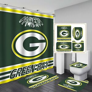 Green Bay Packers Non-Slip Bathroom Rugs 4PCS Shower Curtain Toilet Lid Cover