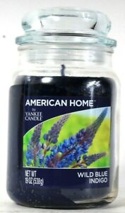 1 Count American Home By Yankee Candle 19 Oz Wild Blue Indigo Glass Candle