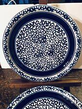 Set Of 4 Tienshan Country Crock Stoneware Sponge Blue Bands Dinner Plates DISC