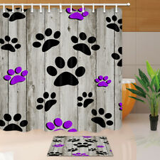 Colorful Dog Paws Print on Wooden Wall Bathroom Fabric Shower Curtain 71x71 inch