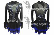 Girl Competition Figure skating Dress Ice Skating Dress  Sparkle black blue