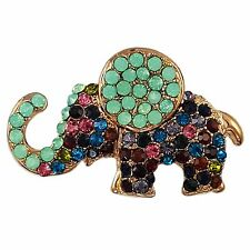 TURQUOISE TRIBAL CRYSTAL ELEPHANT BROOCH PIN MADE WITH SWAROVSKI ELEMENTS