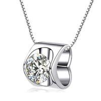 Hochwertiger Herz Zirkonia Anhänger mit Halskette aus 925 Silber + Schmuckbeutel