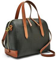 NWT Fossil Sydney Crossbody Satchel SHB2033016 Black PVC/PU Handbag $138 Retail