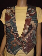 Rough Rider by Circle T Ladies Aztec Print Tapestry Western Vest Size M