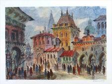 Anatole KRASNYANSKY Streets of PRAGUE Signed Lithograph 19-1/2 x 25
