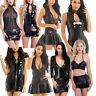 Sexy Women's Sleeveless Leather Mini Dress Bodycon Lingerie Nightwear Clubwear