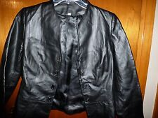 Woman's Unlabeled Faux Leather Lined Black Unique Clasp Closing Jacket Size M?