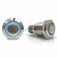 16mm Latching Billet Button with LED Blue Ring uconnect accessories sbc