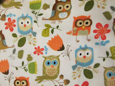 OWLS FLOWERS TULIP OWL COLORED WHITE COTTON FABRIC BTHY