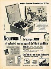 PUBLICITE ADVERTISING 014   1956   LA VOIX DE SON MAITRE  éléctrophone RSI