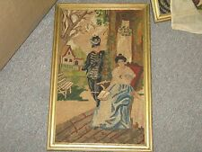 "Vintage Hand Stitched Needlepoint Berlin Woolwork European Framed 10"" x 15"""